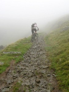 Paul on the hard part of the Bwlch y Rhiwgyr climb.