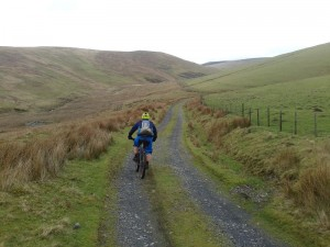 Matty on the Twllydarren descent into Rhydcriw.