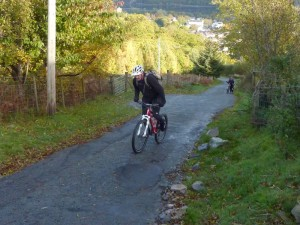 David on the very steep climb from Llanberis.