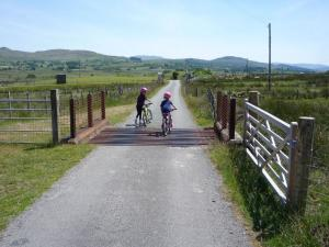 Anna and Elisabeth crossing one of the cattle grids.