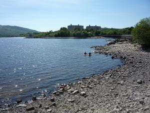 Cooling off in Trawsfynydd lake after a hot ride.