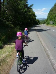 Elisabeth and Anna on the A470 cycle track after Trawsfynydd village.