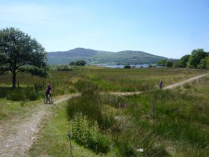 Elisabeth and Anna following the singletrack back to Trawsfynydd lake.