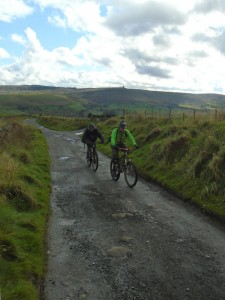 Dan and Rob climbing to Blackshaw on the Pennine Bridleway.