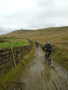 Karl, Dan and Rob heading towards Stoodley Pike on Mary Towneley Loop.