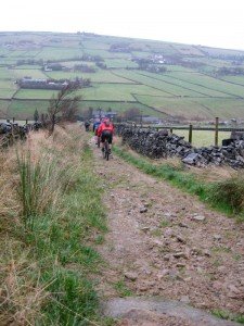 Going down Bow Lane at the start of the long descent back to Hebden Bridge.