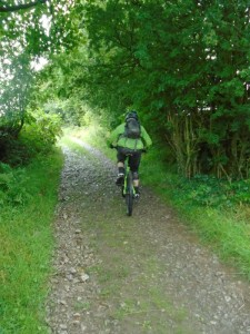 Brian climbing Thwaite Lane on the Pennine Bridleway.