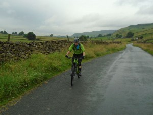 Brian climbing to the Swarth Moor crossroads.