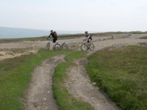 Ken and Shane at the Martin Vein junction to start the Whaw Moor descent.