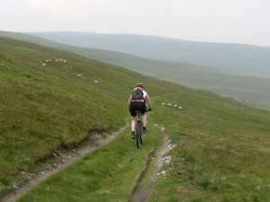Sabine on the Whaw Moor descent.