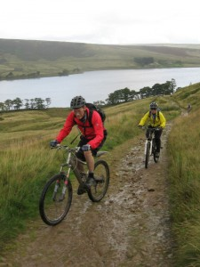 Steve and Cheryl climbing from Widdop reservoir.