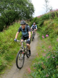 Steve and Sabine at the top of the Colden Clough climb.