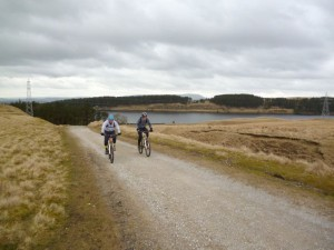 Dan and John climbing from the Hustwood Reservoir.