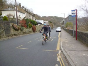 Dan and John climbing out of Hebden Bridge.