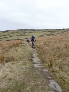 John and Dan on the Packhorse Trail of the Calderdale Way.