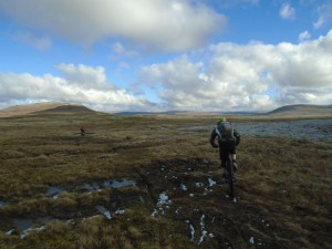 Justin and Jason on the boggy Scales Moor bridleway.