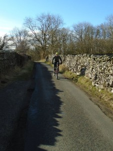 Justin on the road climb from Ingleton.