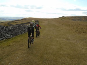 Justin and Jason on the Moughton Scars trail of the Pennine Bridleway.