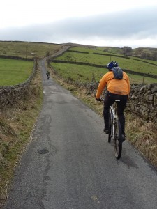 Jan and Brian climbing Gaudy Lane from Hawes.