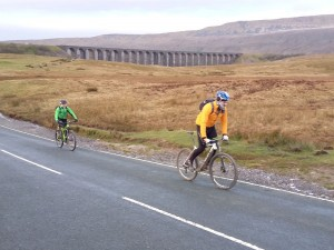 Jan and Brian starting the ride from the Ribblehead Viaduct car park.