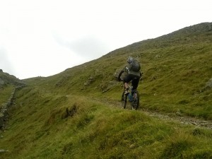 Me (Col) climbing the steep rocky finish to the Bwlch y Rhiwgyr climb. Brian acquitted himself well on this section too!