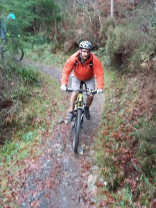 Chris at the end of the Bacwn singletrack.