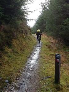 Graham starting the rocky Cynffon y Ddraig descent.