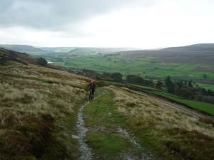 Brain on the Cringley climb from Healaugh, Swaledale.