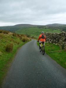 Chris starting the Slacks lane descent.