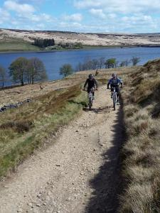 Laurence and Paul climbing from Widdop Reservoir.