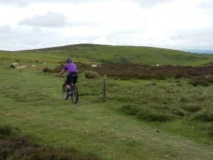 Henk heading for the Minton Batch descent on Long Mynd