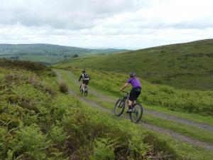 Laurence and Henk on the Priory Cottage descent on Long Mynd.