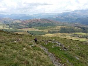 John heading back towards the Mawddach Estuary on the Bwlch y Rhiwgyr descent.