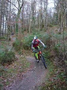 Mat on the Mocha singletrack of the Gwydir Mawr trail.