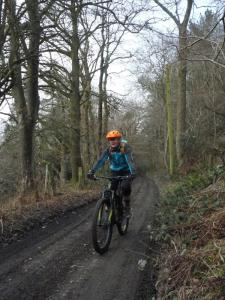 Catherine at the top of the Pontfadog climb in the Ceiriog Valley.