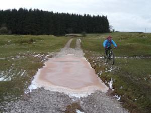 Graham wisely going round a slushy puddle on the Ickenthwaite trail.