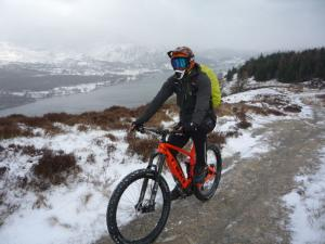 Martin climbing Park Crags above Coniston Water.