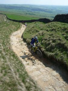 Chris at the tricky end to the South Head climb on the Pennine Bridleway.