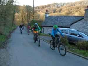 Dave and Gareth on the road climb behind The Oak pub at Hendre.