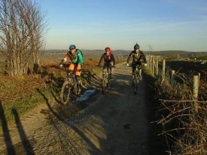 Gareth, Graham and Brian on the Moel Llys-y-coed double track.