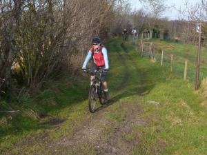Birgit on the Mynydd Du double track after Nercwys Forest.
