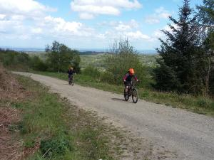 Catherine and Darren near the top of final climb in Clwyd Forest.