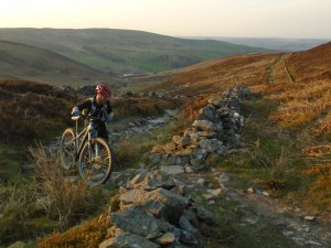 Graham nearly at the ridge on the Clwydian Range.