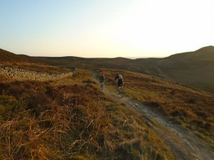 Steve and Graham heading to the ridge of the Clwydian Range.