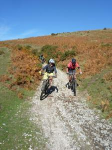 Nige, Tim and Matt on the loose, rocky Moel Dywyll descent.