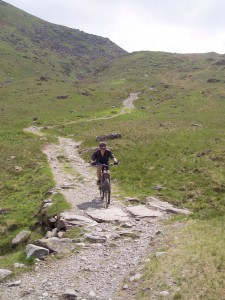 Paul on the long, loose and rocky Gatescarth Pass descent.