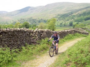 Paul riding the double track back to Kentmere.