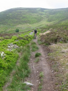 Connor on the concessional trail from Moel Famau.