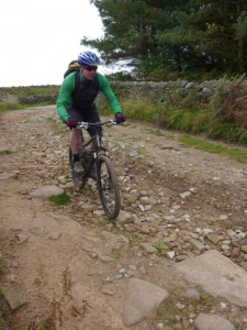 John flying down the Beeley Hill descent.