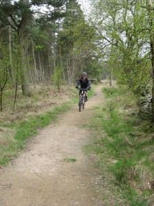 Mike riding through Langsett woods.